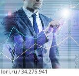 Купить «BUsinessman pressing virtual button on diagram chart», фото № 34275941, снято 3 августа 2020 г. (c) Elnur / Фотобанк Лори
