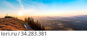 Panorama landscape view during sunset in spring from Graz Schockl mountain in Styria, Austria. Famous tourist destination ,hiking and mountain biking spot. Стоковое фото, фотограф Zoonar.com/Przemyslaw Iciak / easy Fotostock / Фотобанк Лори