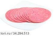 Slices of sausage mortadella from turkey isolated. Стоковое фото, фотограф Яков Филимонов / Фотобанк Лори