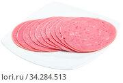 Купить «Slices of sausage mortadella from turkey isolated», фото № 34284513, снято 3 августа 2020 г. (c) Яков Филимонов / Фотобанк Лори