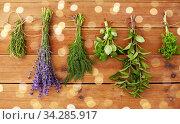 Купить «greens, spices or medicinal herbs on wood», фото № 34285917, снято 12 июля 2018 г. (c) Syda Productions / Фотобанк Лори