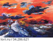 Яркий небесный пейзаж с морем. Детский рисунок. Стоковая иллюстрация, иллюстратор Ирина Борсученко / Фотобанк Лори