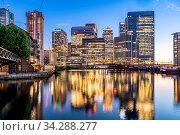 Купить «Skylines building at Canary Wharf in London UK sunset twilight», фото № 34288277, снято 4 августа 2020 г. (c) easy Fotostock / Фотобанк Лори