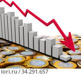 График падения доходов в Российских рублях. Стоковая иллюстрация, иллюстратор WalDeMarus / Фотобанк Лори