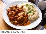 Купить «Beef stroganoff with rice», фото № 34297733, снято 6 августа 2020 г. (c) Яков Филимонов / Фотобанк Лори