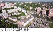 Scenic view from drone of modern cityscape of Russian city of Chekhov. Стоковое видео, видеограф Яков Филимонов / Фотобанк Лори