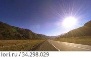 Купить «Mountain road timelapse at the summer or autumn sunset sunrise time. Wild nature and rural field.», видеоролик № 34298029, снято 8 июня 2018 г. (c) Александр Маркин / Фотобанк Лори