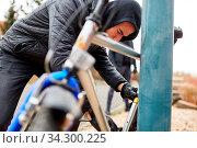 Fahrraddiebstahl in der Stadt mit Dieb und Fahrrad. Стоковое фото, фотограф Zoonar.com/Robert Kneschke / age Fotostock / Фотобанк Лори