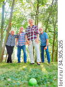 Senioren Gruppe im Garten im Altersheim beim Boule oder Boccia Spiel. Стоковое фото, фотограф Zoonar.com/Robert Kneschke / age Fotostock / Фотобанк Лори