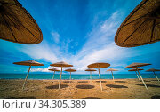 Sunshades on the Tsilivi Beach in summer on Zante Island, Greece. Стоковое фото, фотограф Zoonar.com/Pawel Opaska / easy Fotostock / Фотобанк Лори