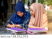 Teenager Young Adult Asian Thai Muslim university college students reading book and using digital tablet together using for education and online education concept. Стоковое фото, фотограф Zoonar.com/Vichie81 / easy Fotostock / Фотобанк Лори