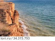 Sheer cliffs and sea. Wonderful seascape on the coast of Crimea (2020 год). Стоковое фото, фотограф Яна Королёва / Фотобанк Лори