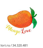 Mandala style illustration of a mango, a juicy tropical stone fruit drupe belonging to the genus Mangifera set on isolated white background with the word text Mango Love done in watercolor. Стоковое фото, фотограф Zoonar.com/patrimonio designs limited / easy Fotostock / Фотобанк Лори