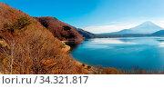 Купить «Panorama of Mountain Fuji fujisan with Motosu lake at Yamanashi Japan», фото № 34321817, снято 7 августа 2020 г. (c) easy Fotostock / Фотобанк Лори