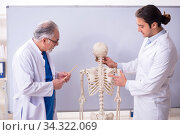 Experienced doctor surgeon teaching young male assistant. Стоковое фото, фотограф Elnur / Фотобанк Лори