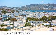 Panoramic view of Mykonos (Chora) town (2018 год). Стоковое фото, фотограф Роман Сигаев / Фотобанк Лори