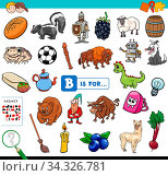 Cartoon Illustration of Finding Picture Starting with Letter B Educational Game Worksheet for Children. Стоковое фото, фотограф Zoonar.com/Igor Zakowski / easy Fotostock / Фотобанк Лори