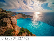 Stunning view of the cliffs in Shipwreck Cove in summer on Zante Island, Greece. Стоковое фото, фотограф Zoonar.com/Pawel Opaska / easy Fotostock / Фотобанк Лори