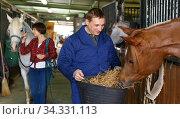 Farm worker feeding horse with hay. Стоковое фото, фотограф Яков Филимонов / Фотобанк Лори