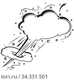 Retro empty comic speech bubble. Boom pop art explosion. Fast flying white cloud for messages. Black and white colors cartoon. Vector dynamic illustration. Template dialogue cloud for your design. Стоковая иллюстрация, иллюстратор Dmitry Domashenko / Фотобанк Лори