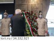 Купить «Italian Republic President Sergio Mattarella lays a wreath on the plaque in memory of the victims of the Bologna station massacre ,Bologna, ITALY-30-07-2020.», фото № 34332921, снято 30 июля 2020 г. (c) age Fotostock / Фотобанк Лори