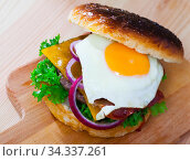 Купить «Hamburger with with fried egg, beef, onion, cheese and lettuce», фото № 34337261, снято 5 августа 2020 г. (c) Яков Филимонов / Фотобанк Лори