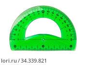 Купить «Green plastic protractor isolated on white», фото № 34339821, снято 5 августа 2020 г. (c) easy Fotostock / Фотобанк Лори