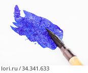 Купить «Blue colored tip of paintbrush for sumi-e ( suibokuga) painting in...», фото № 34341633, снято 4 августа 2020 г. (c) easy Fotostock / Фотобанк Лори