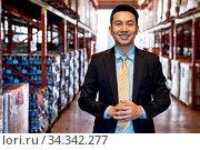 Купить «Portrait of asian confidence businessman investor stand in large factory...», фото № 34342277, снято 4 августа 2020 г. (c) easy Fotostock / Фотобанк Лори