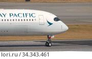 Купить «Airplane departure from International Airport, Hong Kong», видеоролик № 34343461, снято 10 ноября 2019 г. (c) Игорь Жоров / Фотобанк Лори