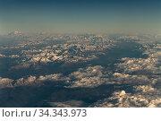 View of the Caucasus Mountains from the plane. Стоковое фото, фотограф Володина Ольга / Фотобанк Лори