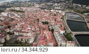 Panoramic aerial view of Pontevedra with view of buildings and sea bay, Spain. Стоковое видео, видеограф Яков Филимонов / Фотобанк Лори