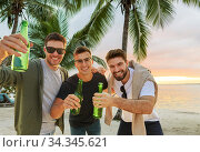 young men toasting non alcoholic beer on beach. Стоковое фото, фотограф Syda Productions / Фотобанк Лори