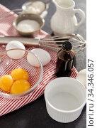 whisk, eggs, sugar, milk, flour and vanilla. Стоковое фото, фотограф Syda Productions / Фотобанк Лори