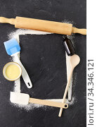 Купить «frame of kitchen tools and cooking ingredients», фото № 34346121, снято 13 февраля 2020 г. (c) Syda Productions / Фотобанк Лори