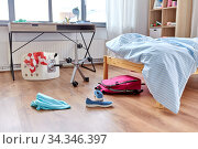 messy home or kid's room with scattered stuff. Стоковое фото, фотограф Syda Productions / Фотобанк Лори