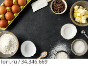 rolling pin, butter, eggs, flour and chocolate. Стоковое фото, фотограф Syda Productions / Фотобанк Лори
