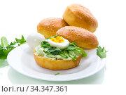 Купить «Homemade bun with cheese spread, fresh arugula and boiled egg in a plate», фото № 34347361, снято 17 апреля 2020 г. (c) Peredniankina / Фотобанк Лори