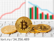 Купить «Bitcoins on computer and diagram - business technology background», фото № 34356489, снято 4 августа 2020 г. (c) easy Fotostock / Фотобанк Лори