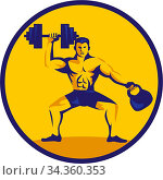 Illustration of an athlete weightlifter lifting kettlebell with one... Стоковое фото, фотограф Zoonar.com/patrimonio designs / easy Fotostock / Фотобанк Лори