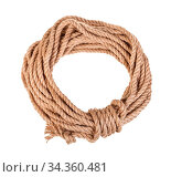 Round bight of natural jute rope isolated on white background. Стоковое фото, фотограф Zoonar.com/Valery Voennyy / easy Fotostock / Фотобанк Лори