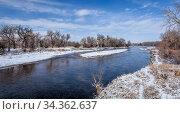 South Platte River in northern Colorado near Fort Lupton, winter scenery... Стоковое фото, фотограф Zoonar.com/Marek Uliasz / easy Fotostock / Фотобанк Лори
