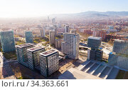 Modern high-rise buildings in the coastal residential areas of Diagonal Mar and Poblenou (2019 год). Редакционное фото, фотограф Яков Филимонов / Фотобанк Лори