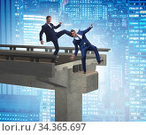 Business unethical competition concept with businessmen. Стоковое фото, фотограф Elnur / Фотобанк Лори