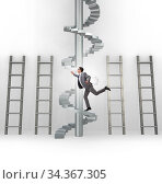 Career progression concept with ladders and staircase. Стоковое фото, фотограф Elnur / Фотобанк Лори