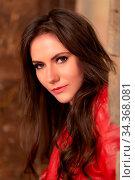 Купить «Fashion portrait of a gorgeous young woman in red leather jacket,...», фото № 34368081, снято 7 августа 2020 г. (c) easy Fotostock / Фотобанк Лори