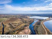 South Platte River above Brighton, Colorado - aerial view with early... Стоковое фото, фотограф Zoonar.com/Marek Uliasz / easy Fotostock / Фотобанк Лори