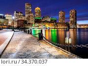 Boston Downtown skylines building cityscape sunset at Boston city... Стоковое фото, фотограф Zoonar.com/Vichie81 / easy Fotostock / Фотобанк Лори