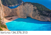 Stunning view of the cliffs in Shipwreck Cove in summer on Zante Island... Стоковое фото, фотограф Zoonar.com/Pawel Opaska / easy Fotostock / Фотобанк Лори