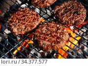 Купить «Close up beef or pork meat barbecue burgers for hamburger prepared...», фото № 34377577, снято 6 августа 2020 г. (c) easy Fotostock / Фотобанк Лори